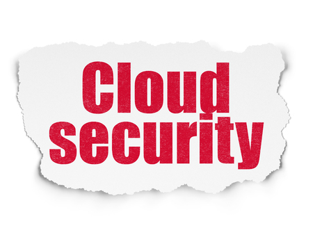 Safety concept: Painted red text Cloud Security on Torn Paper background with Scheme Of Binary Code Stock Photo