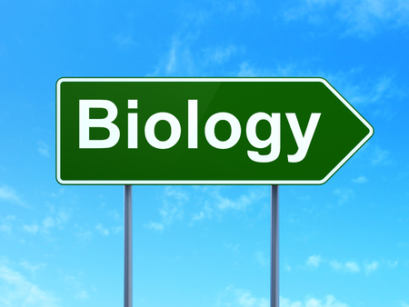 Science concept: Biology on green road highway sign, clear blue sky background, 3D rendering