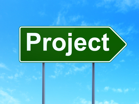 Finance concept: Project on green road highway sign, clear blue sky background, 3D rendering