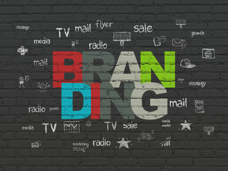 Marketing concept: Painted multicolor text Branding on Black Brick wall background with  Hand Drawn Marketing Icons Banco de Imagens