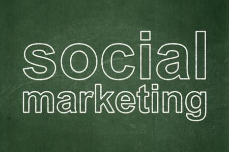 Marketing concept: text Social Marketing on Green chalkboard background Banco de Imagens