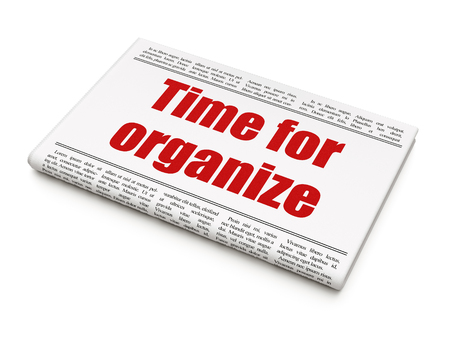 Timeline concept: newspaper headline Time For Organize on White background, 3D rendering Stock Photo - 97603668