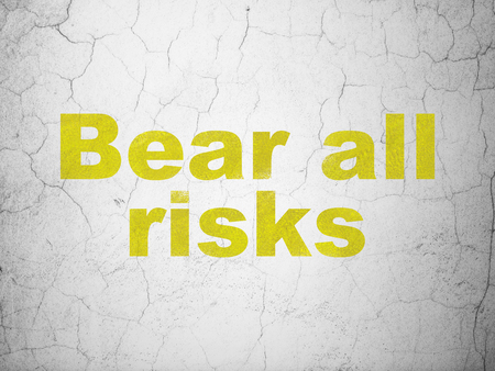 Insurance concept: Yellow Bear All Risks on textured concrete wall background Stock Photo