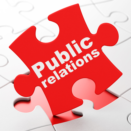 Marketing concept: Public Relations on Red puzzle pieces background, 3D rendering 写真素材