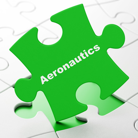 Science concept: Aeronautics on Green puzzle pieces background, 3D rendering