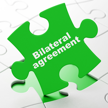Insurance concept: Bilateral Agreement on Green puzzle pieces background, 3D rendering