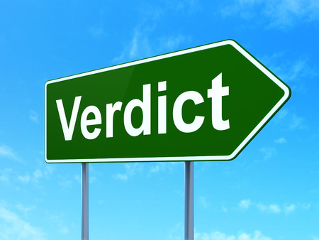 Law concept: Verdict on green road highway sign, clear blue sky background, 3D rendering