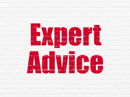 Law concept: Painted red text Expert Advice on White Brick wall background