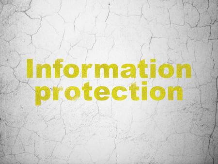 Security concept: Yellow Information Protection on textured concrete wall background