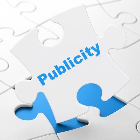 Advertising concept: Publicity on White puzzle pieces background, 3D rendering Stock Photo