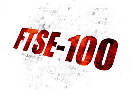 Stock market indexes concept: Pixelated red text FTSE-100 on Digital background