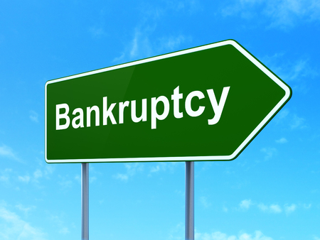 Law concept: Bankruptcy on green road highway sign, clear blue sky background, 3D rendering