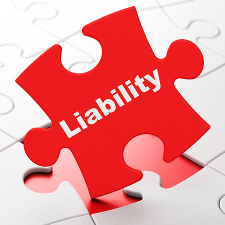Insurance concept: Liability on Red puzzle pieces background, 3D rendering