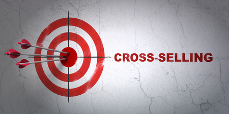 Success business concept: arrows hitting the center of target, Red Cross-Selling on wall background, 3D rendering