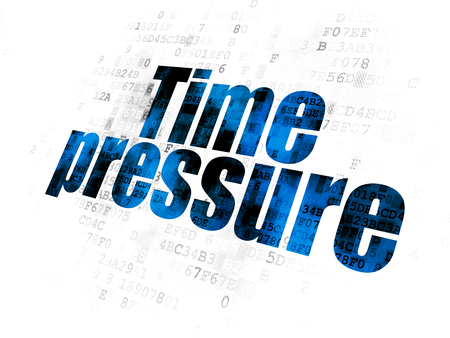 Time concept: Pixelated blue text Time Pressure on Digital background Stock Photo