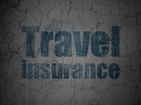 Insurance concept: Blue Travel Insurance on grunge textured concrete wall background