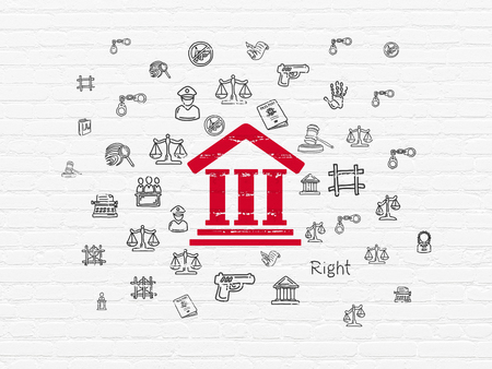 Law concept: Painted red Courthouse icon on White Brick wall background with  Hand Drawn Law Icons