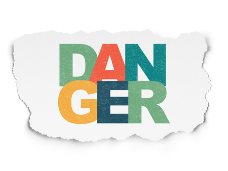 Privacy concept: Painted multicolor text Danger on Torn Paper background