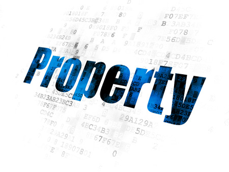Business concept: Pixelated blue text Property on Digital background
