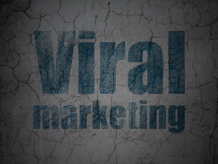 Marketing concept: Blue Viral Marketing on grunge textured concrete wall background