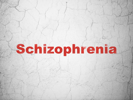 Healthcare concept: Red Schizophrenia on textured concrete wall background