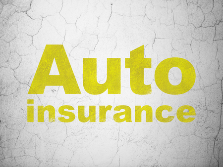 Insurance concept: Yellow Auto Insurance on textured concrete wall background