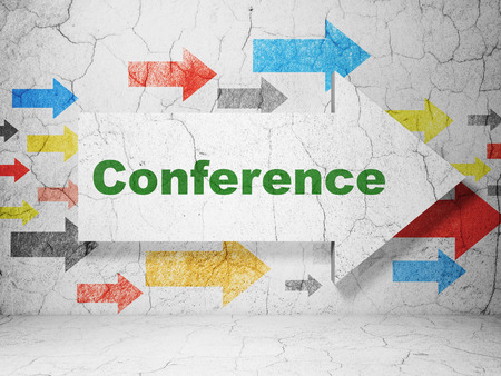 Business concept:  arrow with Conference on grunge textured concrete wall background, 3D rendering