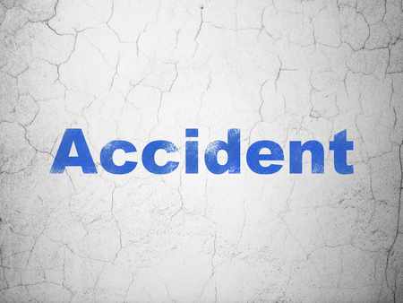 Insurance concept: Blue Accident on textured concrete wall background Stock Photo