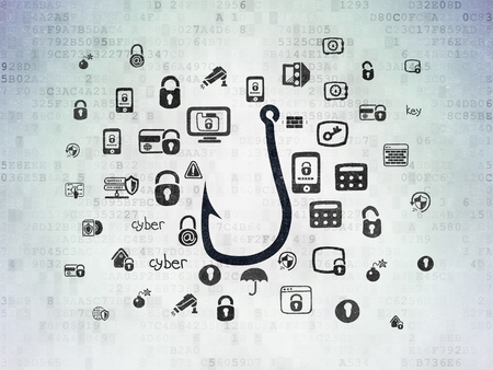 Privacy concept: Painted black Fishing Hook icon on Digital Data Paper background with  Hand Drawn Security Icons