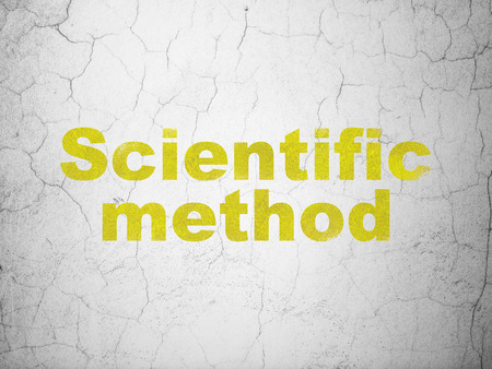 Science concept: Yellow Scientific Method on textured concrete wall background Stock Photo