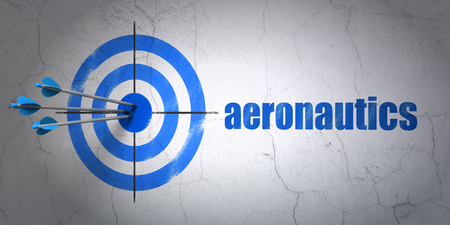 Success Science concept: arrows hitting the center of target, Blue Aeronautics on wall background, 3D rendering