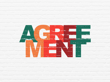 Finance concept: Painted multicolor text Agreement on White Brick wall background