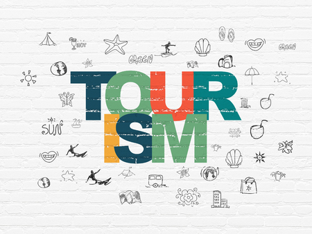 Tourism concept: Painted multicolor text Tourism on White Brick wall background with  Hand Drawn Vacation Icons