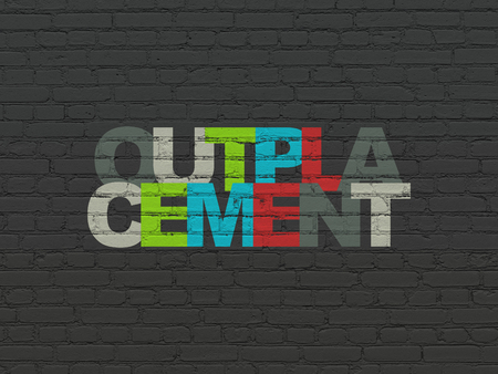 Finance concept: Painted multicolor text Outplacement on Black Brick wall background