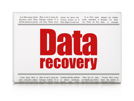 Information concept: newspaper headline Data Recovery on White background, 3D rendering