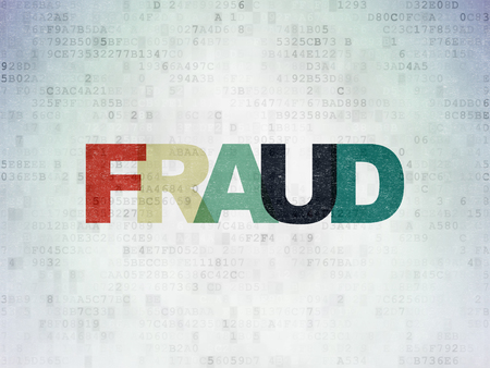 Protection concept: Painted multicolor text Fraud on Digital Data Paper background