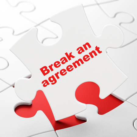 Law concept: Break An Agreement on White puzzle pieces background, 3D rendering