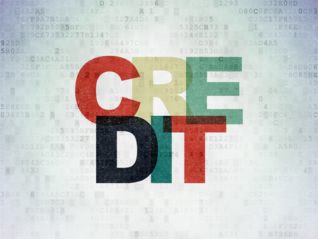 Money concept: Painted multicolor text Credit on Digital Data Paper background