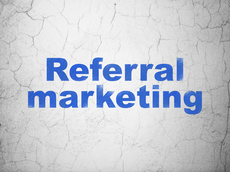 Advertising concept: Blue Referral Marketing on textured concrete wall background