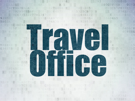 Travel concept: Painted blue word Travel Office on Digital Data Paper background Фото со стока