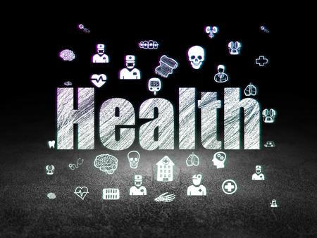 Medicine concept: Glowing text Health,  Hand Drawn Medicine Icons in grunge dark room with Dirty Floor, black background Reklamní fotografie