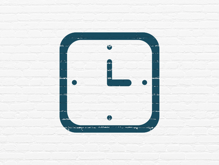 Timeline concept: Painted blue Watch icon on White Brick wall background