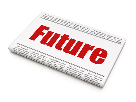 Timeline concept: newspaper headline Future on White background, 3D rendering