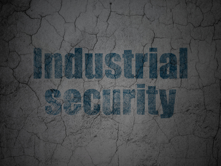 Security concept: Blue Industrial Security on grunge textured concrete wall background