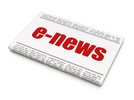 News concept: newspaper headline E-news on White background, 3D rendering