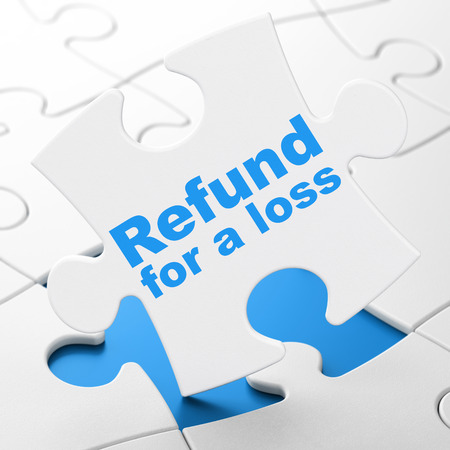 Insurance concept: Refund For A Loss on White puzzle pieces background, 3D rendering Stock Photo