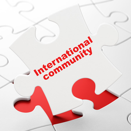 Politics concept: International Community on White puzzle pieces background, 3D rendering Stock Photo