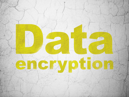 Safety concept: Yellow Data Encryption on textured concrete wall background