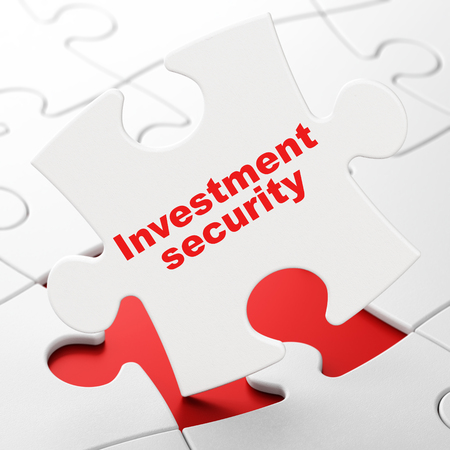 Protection concept: Investment Security on White puzzle pieces background, 3D rendering