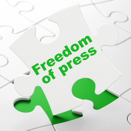 Political concept: Freedom Of Press on White puzzle pieces background, 3D rendering